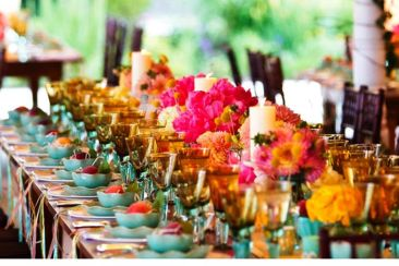 table with large centerpiece